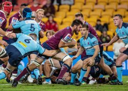 Liam Wright goes for the try QLD Reds v NSW Waratahs 2020 Photo Credit QRU Brendan Hertel