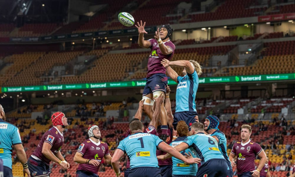 Tauina Taii Tualima takes a lineout QLD Reds v NSW Waratahs 2020 Photo Credit QRU Brendan Hertel