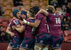 Hamish Stewart embraced post try Reds v Rebels 2020 Super Rugby (CREDIT: Brendan Hertel/QRU)