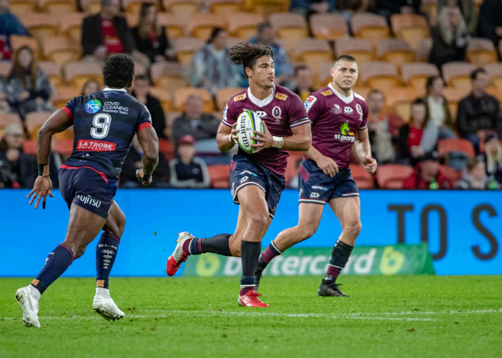 Jordy Petaia looks for support Reds v Rebels 2020 Super Rugby (CREDIT: Brendan Hertel/QRU)