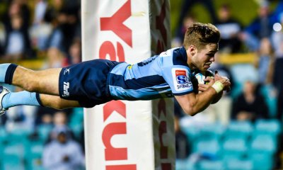 Will Harrison dives for the line Waratahs v Rebels Super Rugby 2020 (Credit - Keith McInnes Photography)