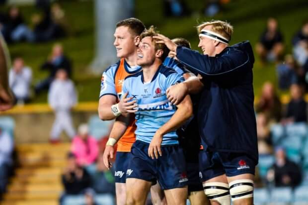 Will Harrison post try Waratahs v Rebels Super Rugby 2020 (Credit - Keith McInnes Photography)
