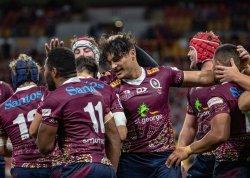 Jordy Petaia celebrates Brumbies v Reds Super Rugby 2020 (Photo Credit QRUBrendan Hertel)