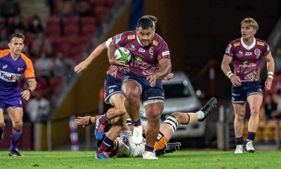 Taniela Tupou in the gap Brumbies v Reds Super Rugby 2020 (Photo Credit QRUBrendan Hertel)