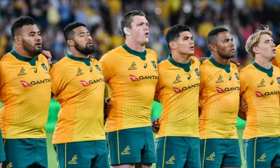 Taniela Tupou , Folau Faingaa, Angus Bell , Noah Lolesio, Filipo Daugunu and Tate McDermott during anthems
