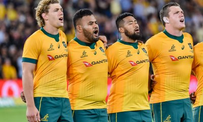 Ned Hanigan, Taniela Tupou , Folau Faingaa  and Angus Bell during anthems
