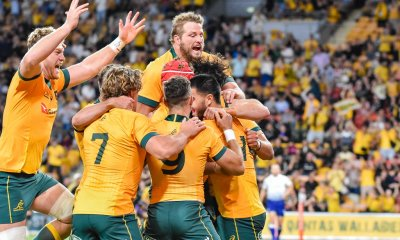 Wallabies celebrate Tom Wright's early try