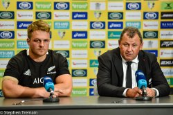 Sam Cane and Ian Foster in the post-match press conference