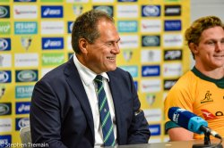 Dave Rennie and Michael Hooper in the post-match press conference