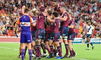 Queensland Reds celebrate Alex Mafi scoring the winning try