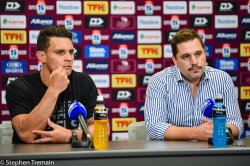 Matt Toomua and Dave Wessels at post-match press conference